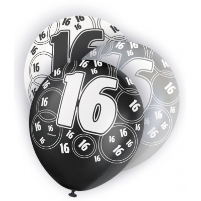 "16th Birthday Black & Silver 12"" Pearlised Balloons"