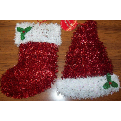 2 Christmas Tinsel Wall Door Decorations - Christmas Stocking & Hat