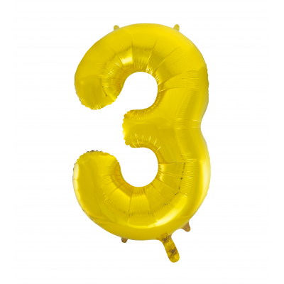 3 NUMERAL Gold colour FOIL BALLOON 34""