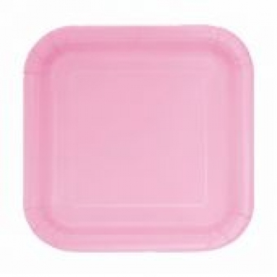 "LOVELY PINK 7"" SQUARE paper PLATES - Pack of 16"