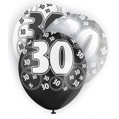 "30th Birthday Black & Silver 12"" Pearlised Balloons"