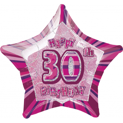 "30th Birthday Giltz Pink 20"" Star Shaped Balloon"