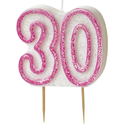 30th BIRTHDAY Numeral Age Birthday Candles -
