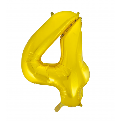 4 NUMERAL Gold colour FOIL BALLOON 34""
