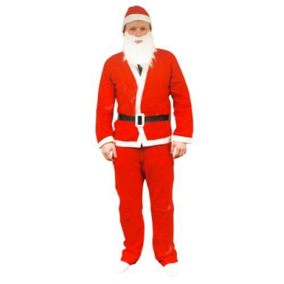 5 Piece Adult Father Christmas Santa Suit Costume