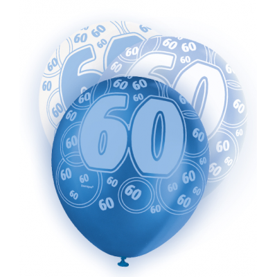 "60th Birthday Blue & White 12"" Pearlised Balloons"