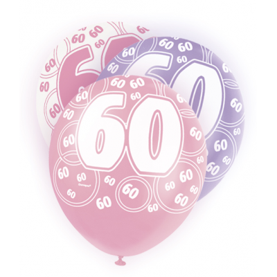 "60th Birthday Pink & Lilac 12"" Pearlised Balloons"