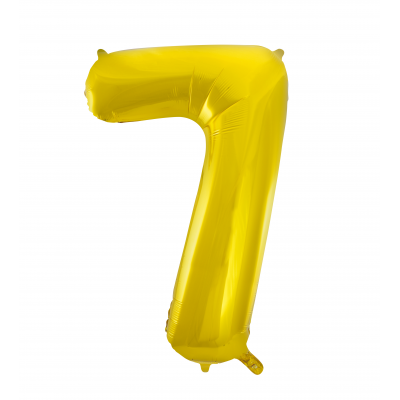 7 NUMERAL Gold colour FOIL BALLOON 34""
