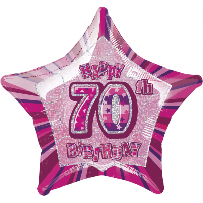 "70th Birthday Giltz Pink 20"" Star Shaped Balloon"