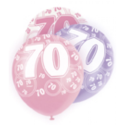 "70th Birthday Pink & Lilac 12"" Pearlised Balloons"