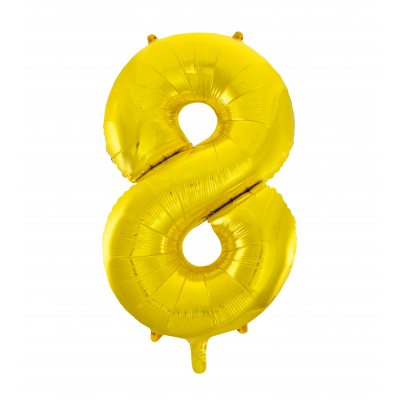 8 NUMERAL Gold colour FOIL BALLOON 34""