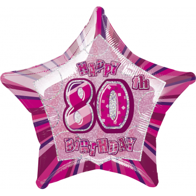"80th Birthday Giltz Pink 20"" Star Shaped Balloon"