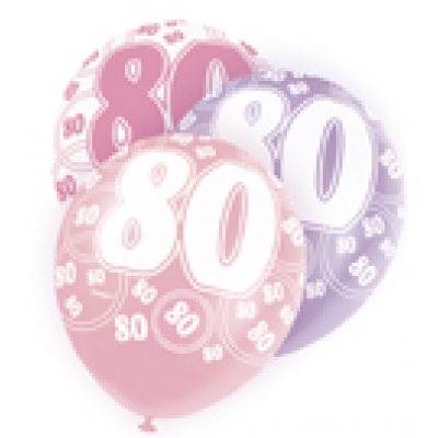 "80th Birthday Pink & Lilac 12"" Pearlised Balloons"