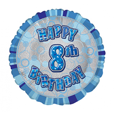 "8th Birthday Glitz Blue 18"" Foil Balloon"