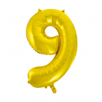 9 NUMERAL Gold colour FOIL BALLOON 34""