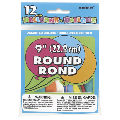 "9"" ROUND BALLOONS ASSORTED COLORS - Pack of 12"