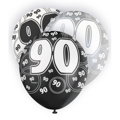 "90th Birthday Black & Silver 12"" Pearlised Balloons"