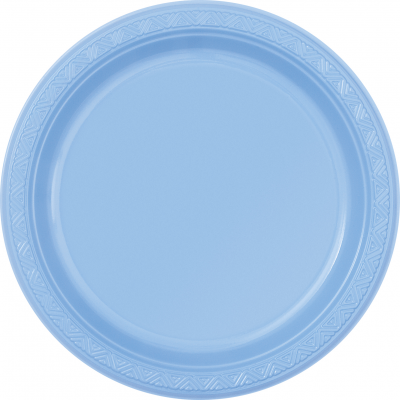 "baby blue   7"" PLASTIC PLATES   - Pack of 12"