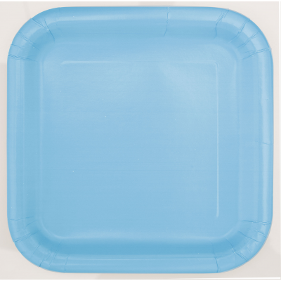 "BABY BLUE  7"" SQUARE PLATES - Pack of 16"