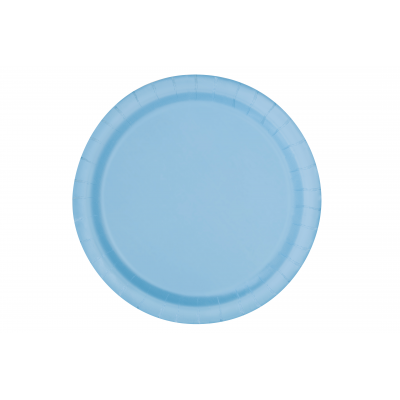 "BABY BLUE 9"" ROUND PLATES - Pack of 16"