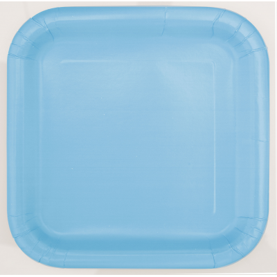 "BABY BLUE  9"" SQUARE PLATES - Pack of 14"