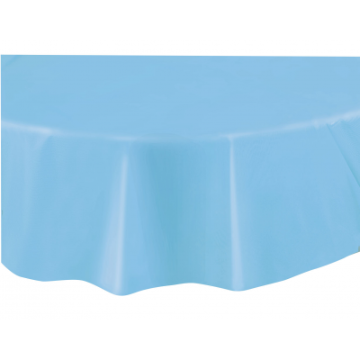 "baby blue  ROUND PLASTIC TABLECOVERS 84"" ."