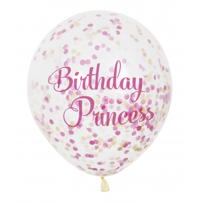 "Birthday Princess 12"" Clear Balloons with Confetti (6pk)"