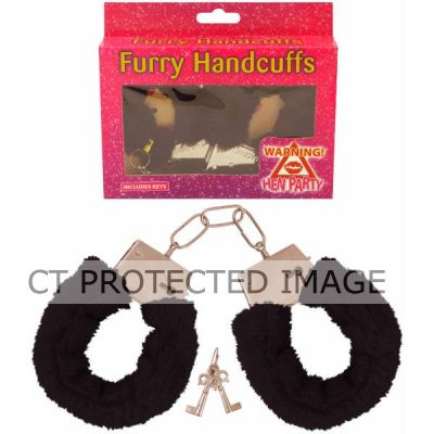Black Fur Handcuffs