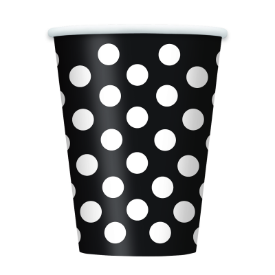 Black Polka Dots   12 OZ. cups  - Pack of 6