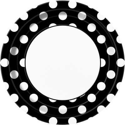 "Black Polka Dots   9""  Paper Plates- Pack of 8"