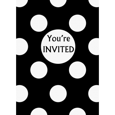 Black Polka Dots    Invitations- Pack of 8