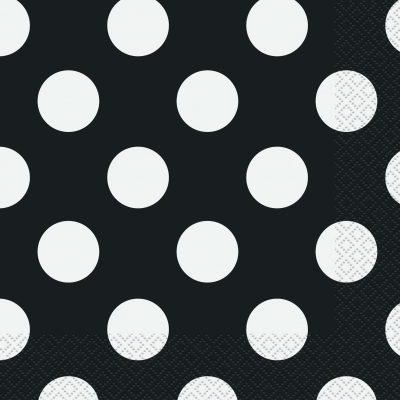 Black Polka Dots  Luncheon Napkins - Pack of 16