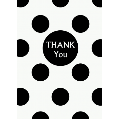 Black Polka Dots   Thank You Note - Pack of 8