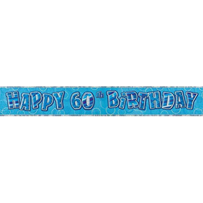 Blue Glitz 60th Birthday Prism Banner