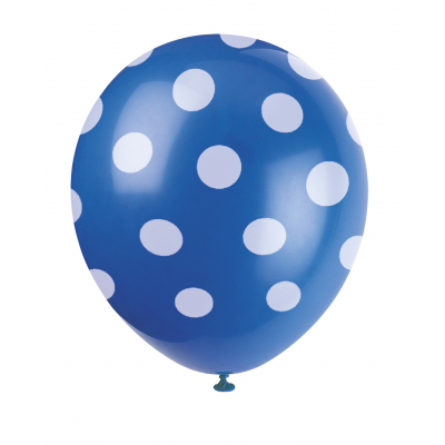 "BLUE ploka DOTS 12"" BALLOONS PRINTED ALL OVER"