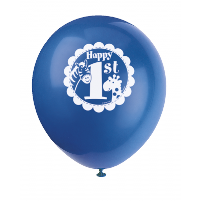 "BLUE SAFARI  1ST BIRTHDAY  12""  BALLOONS  PRINTED 1 SIDE"