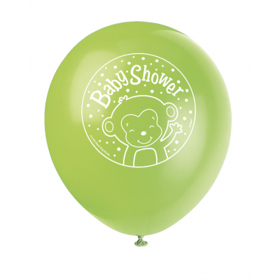 "BOY MONKEY BABY SHOWER 12"" BALLOONS - Pack Of 8"