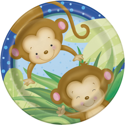 "Boy Monkey Baby Shower 9"" PLATES - pack of 8"