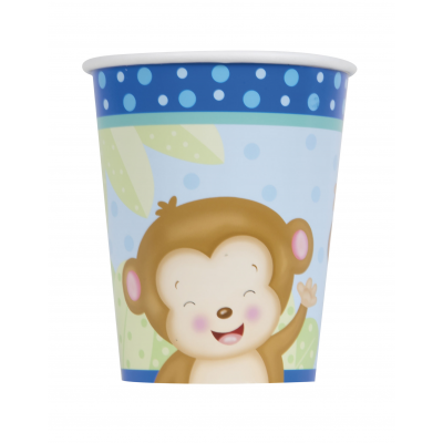 Boy Monkey Baby Shower 9oz CUPS - pack of 8