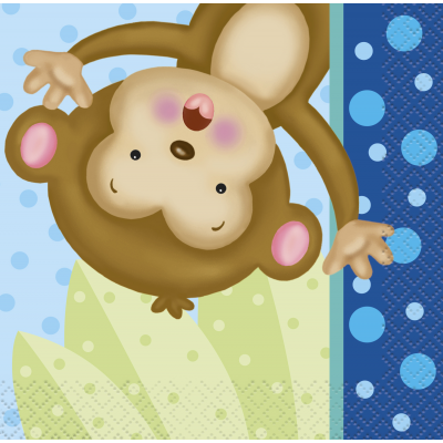 Boy Monkey Baby Shower BEVERAGE NAPKINS - pack of 16
