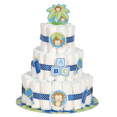 Boy Monkey Baby Shower DIAPER CAKE KIT