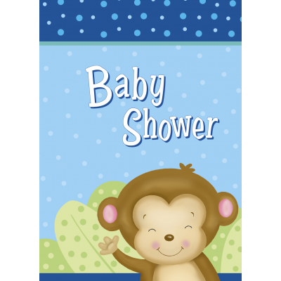 Boy Monkey Baby Shower INVITATIONS - pack of 8