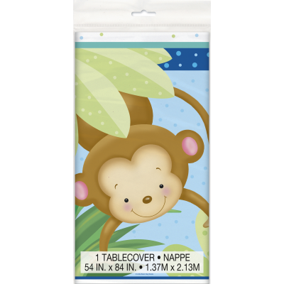 "Boy Monkey Baby Shower PLASTIC TABLECOVER 54"" x 84"""