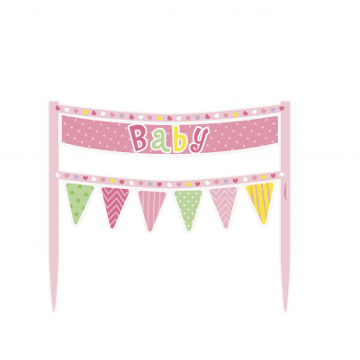 CAKE BANNER PINK DOTS BABY SHOWER