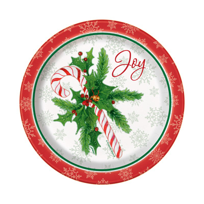 "CANDY CANE XMAS 7"" PLATES - Pack of 8"