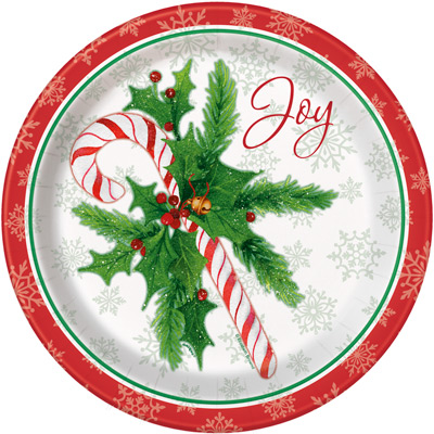 "CANDY CANE XMAS 9"" PLATES - Pack of 8"