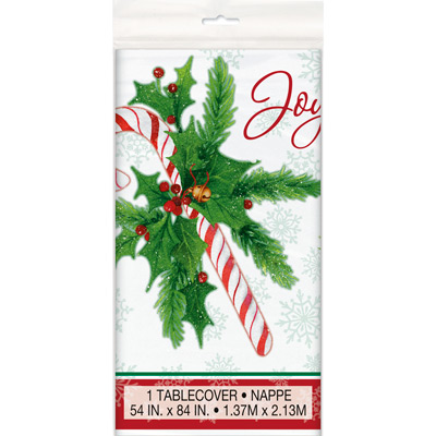 CANDY CANE XMAS TABLECOVER 54 X 84 Inch