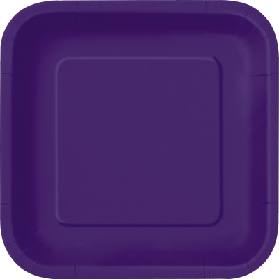 "DEEP PURPLE 9"" SQUARE paper PLATES - Pack of 14"
