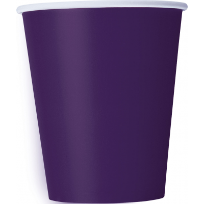 DEEP PURPLE 9OZ paper CUPS - Pack of 8