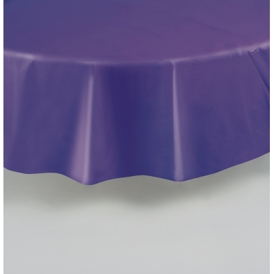 DEEP PURPLE ROUND PLASTIC TABLECOVERS 84""